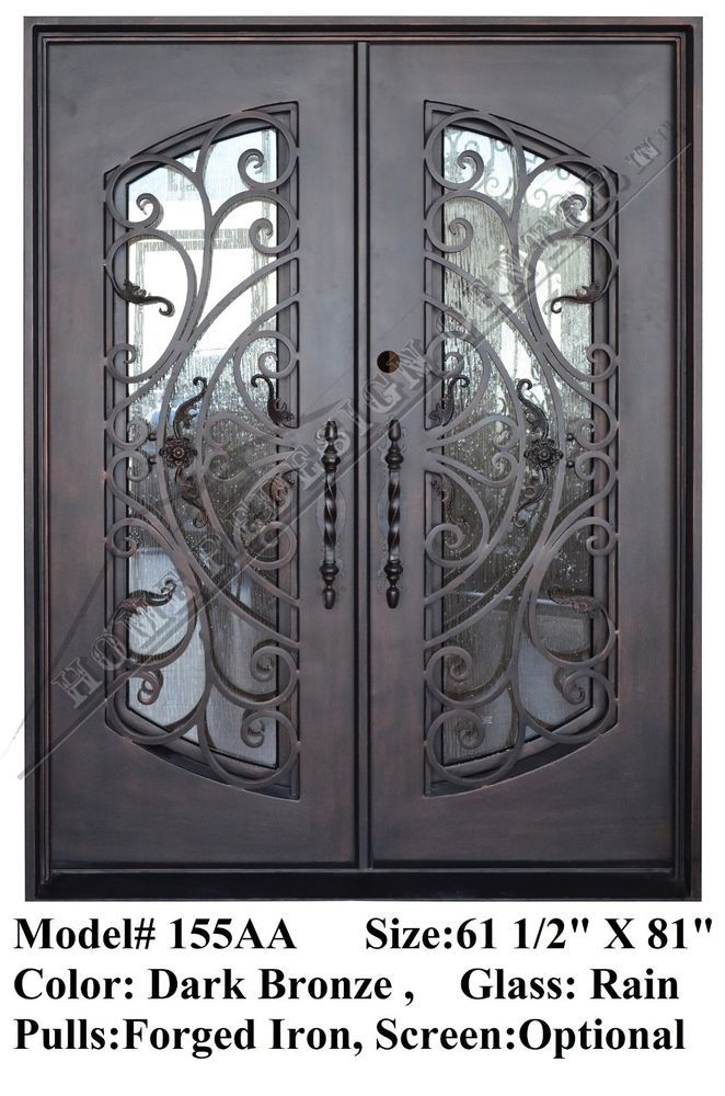 FLORENCE WROUGHT IRON ENTRY FRONT DOUBLE DOORS,  Operable Glasses, IN STOCK