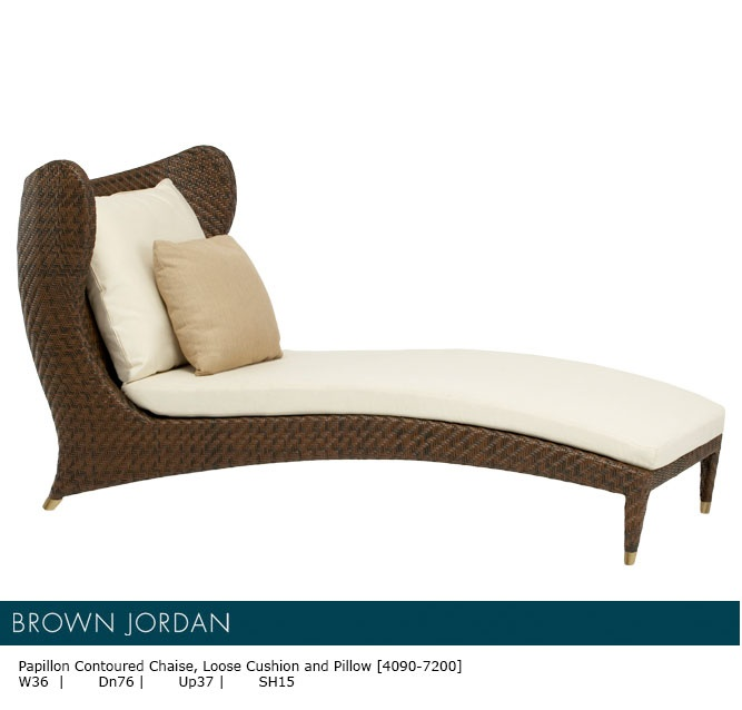 contoured chaise loose cushion and pillow brown jordan playful and sleek lounge chair