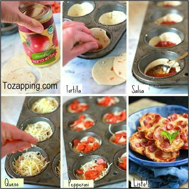 Mini pizzas con tortilla de harina. Prepara y hornea 5 minutos. ¿Habéis comido alguna vez alguna mini pizzas con tortitas de harina como esta? Es muy fácil.