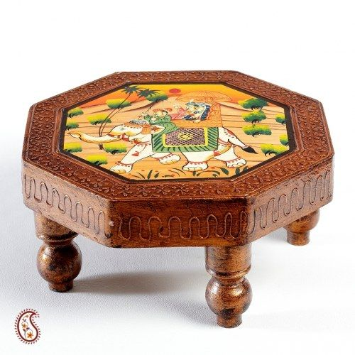 Octagon Side table with a Hand Painted Top