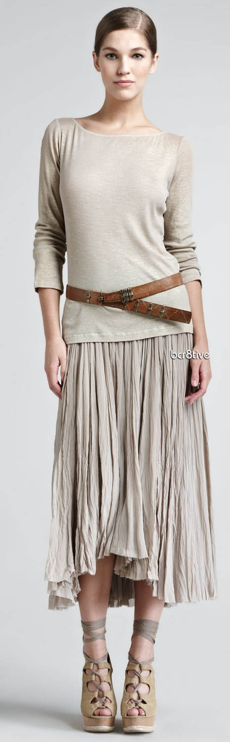 Donna Karan soft cotton top, broomstick skirt, and hip-slung leather belt.
