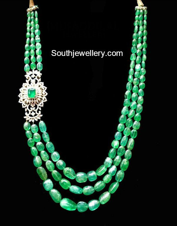 76e45a2ef Emerald Beads Mala with Diamond Side Pendant photo | Jewellery ...