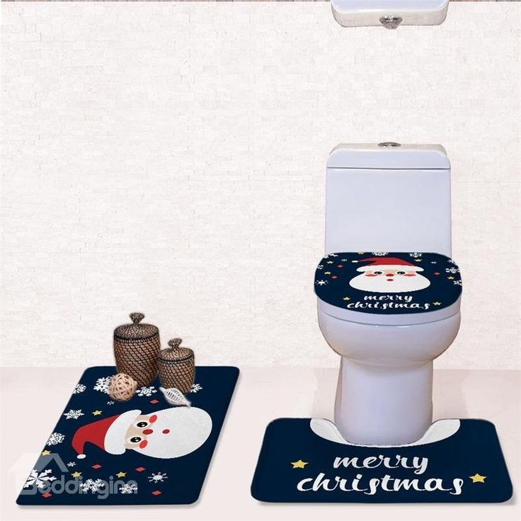 Christmas Father Head Pattern Flannel PVC Soft and Anti-slid Blue Toilet Seat Covers