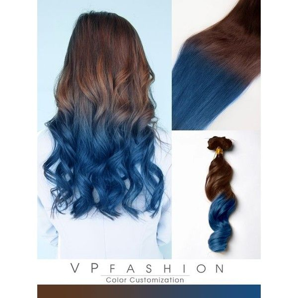 blue ombre human hair extensions for brown hair CS031 ❤ liked on Polyvore featuring hair