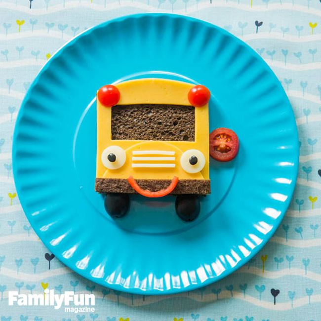 Fun After School Snack Ideas - Cheese Sandwich Bus #backtoschool #snacks