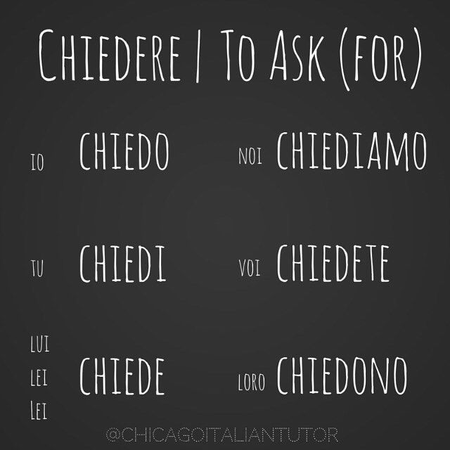 Learning Italian Language ~ chiedere | to ask