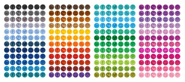 Free Tone-on-Tone Circle Social Media Icons in 48 Different Colors