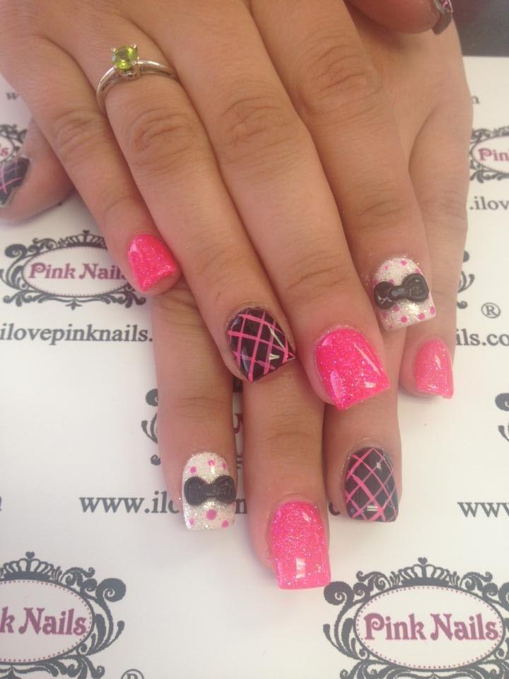 Polka Dot, Stripes, and Bow Nails