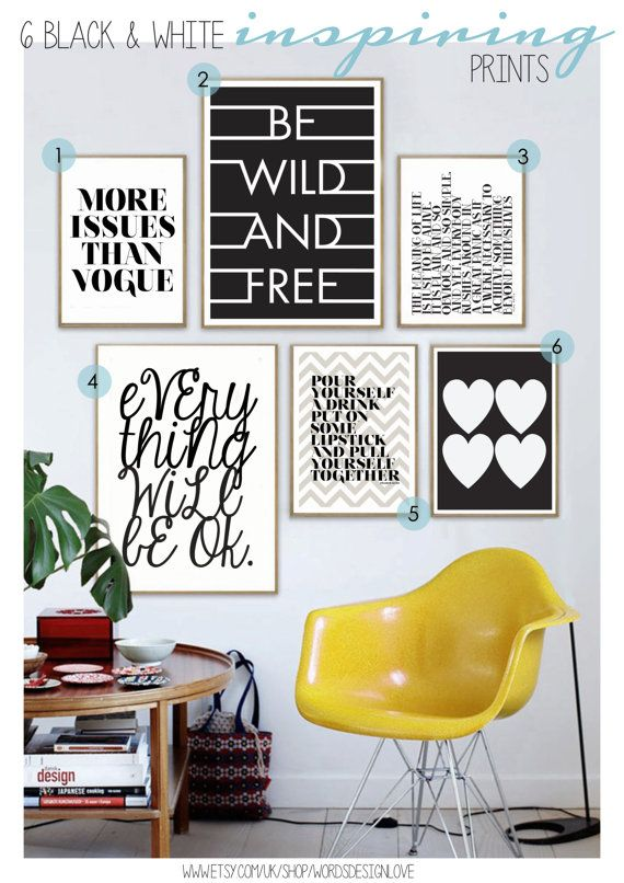 Set of 6 Positive And Inspiring Black & White by wordsdesignlove, £55.00