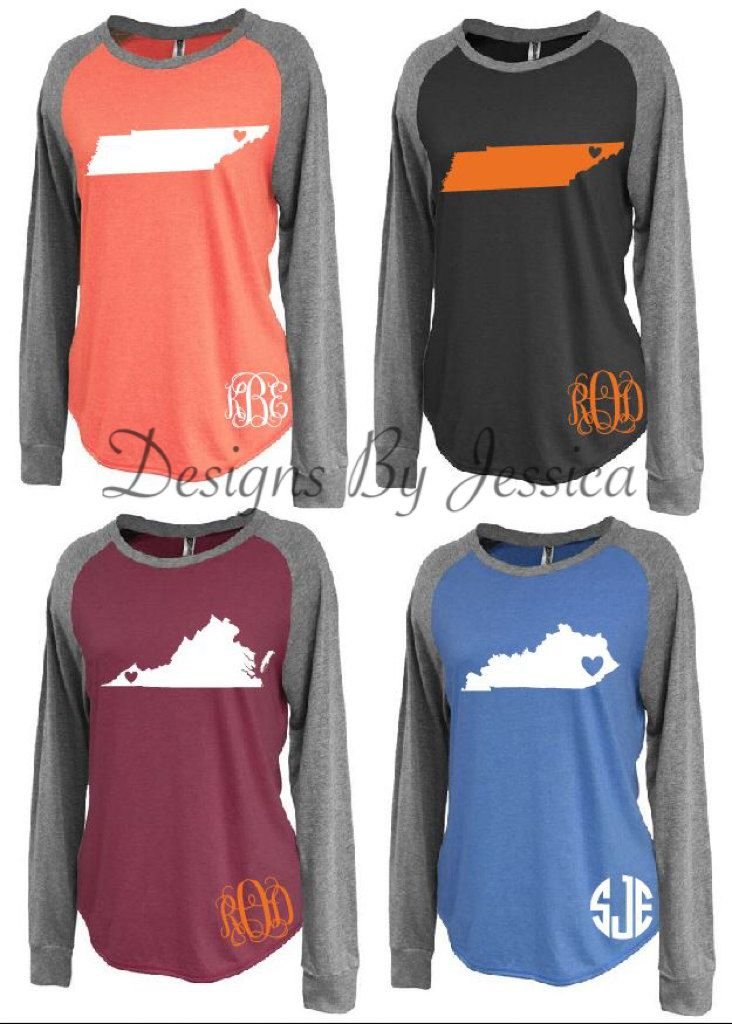 Home State Raglan Shirts with monogram. State with monogram raglan shirt. All 50 states available. Tennessee Vols, Virginia, Kentucky. by DesignsByJessicaK on Etsy