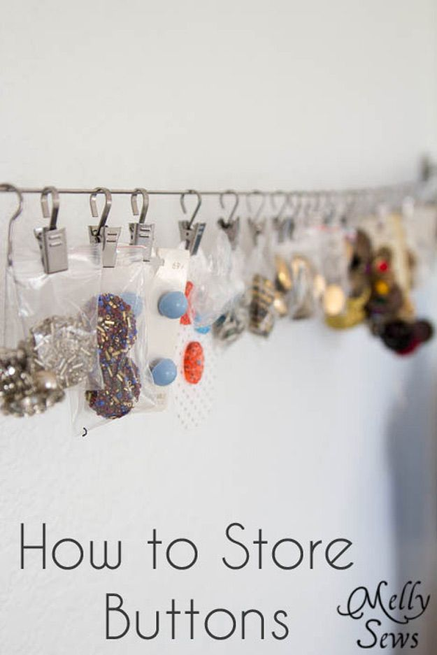 Sewing Hacks | Best Tips and Tricks for Sewing Patterns, Projects, Machines, Hand Sewn Items. Clever Ideas for Beginners and Even Experts | Helpful Tip on How to Store and Organize Your Buttons | http://diyjoy.com/sewing-hacks