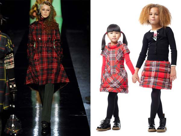 Junior Gaultier tartan mini me girls outfits inspired by Gaultier FW07 collection http://www.dashinfashion.com/shop-the-look/junior-gaultier-mini-me-fw13.html