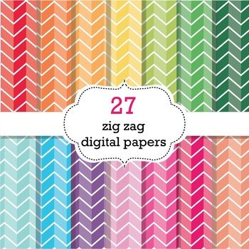 You will receive 27 fun and colorful Zig Zag Digital Papers  size 12 x 12 in perfect for printing and scaling, 300 DPI each, available in 27 colors. Files are provided in JPG format only.  If you are a TPT seller you are more than welcome to use this set to create your own resources for commercial use, as long as you provide a link to my store on your credits page.