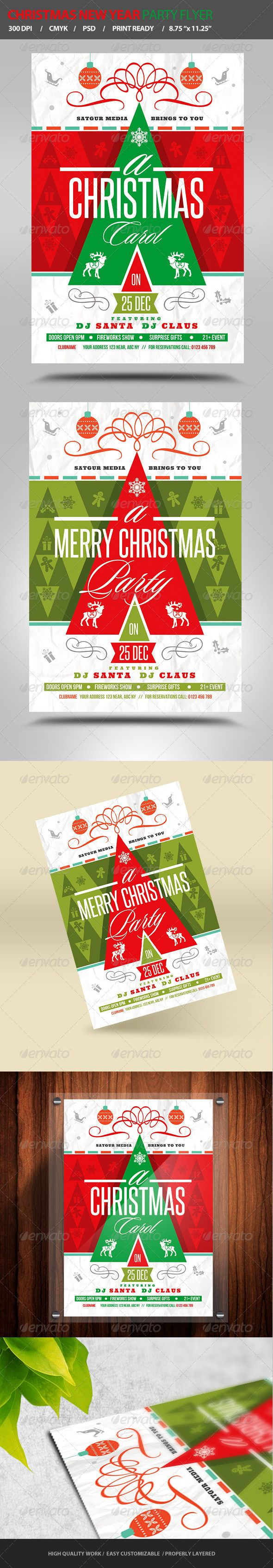 "Christmas / New Year Party Flyer #GraphicRiver SPECIFICATIONS: ================ 1) Dimensions: 4.25"" by 6.25"" in size with bleeds 2) Resolution: 300 dpi CMYK / ready for print 3) Editable fonts/text 4) Easy to change colors 5) JPEGS included 6) Properly Layered 2 Photoshop Files 7) Help file included Multiple color options FONTS USED: ============ Sloop, Ultra, Bebas Neue, and Steelfish Feel Free to contact me on sharma.thatsrohit.acc@gmail for any help. Hope you will like the stuff. Thanks…"