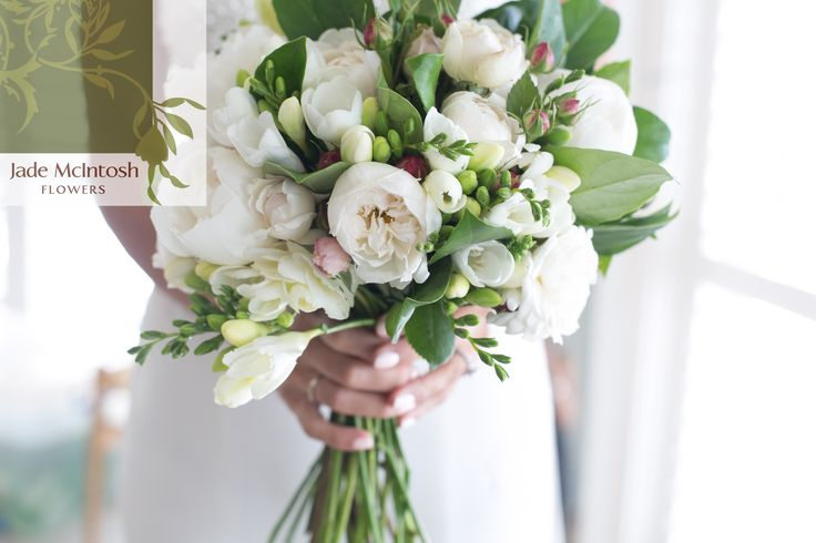 Soft and pretty white and green natural styled bouquet of  peonies, David Austen roses,  freesia and viburnum  www.jademcintoshflowers.com.au www.somethingbluephotography.com.au