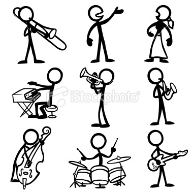 Stickfigure Jazz Musicians Royalty Free Stock Vector Art Illustration