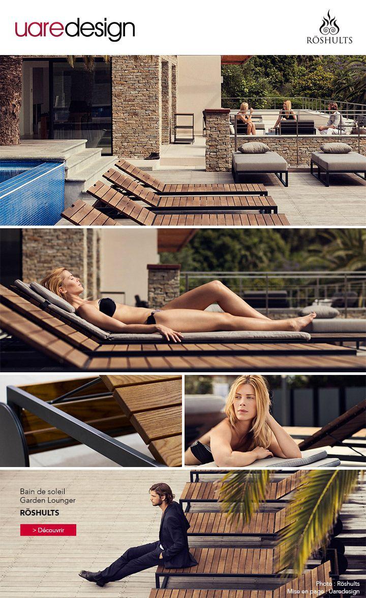 Bain de soleil - chaise longue - Garden Lounger - Röshults - Bois frêne et métal fer #design #mobilierdejardin #outdoor #detente #été #summer #jardin #terrasse #instantdetente