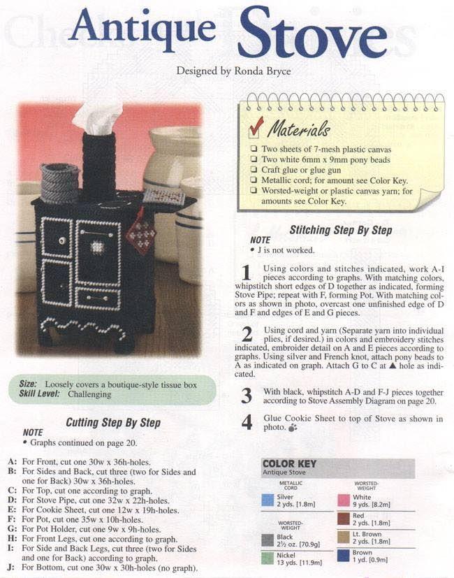 Antique Stove Tissue Box Cover 1/3