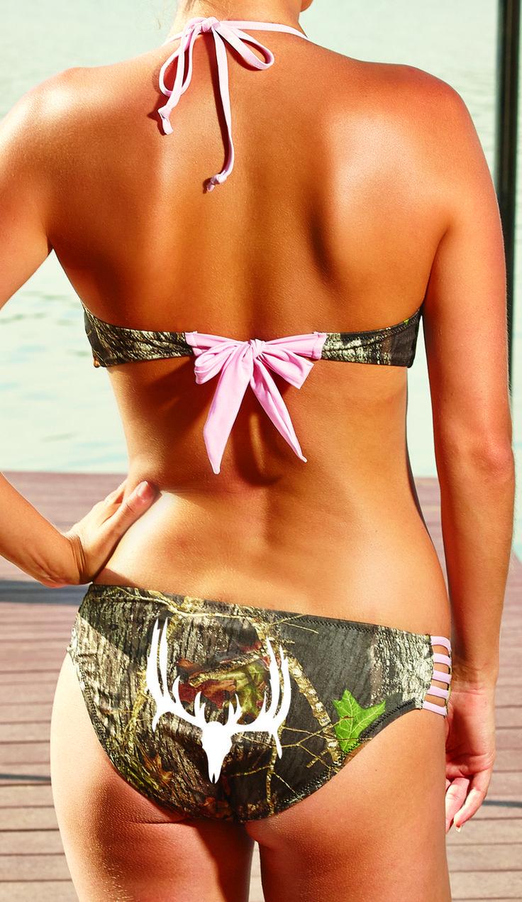 Southern Sisters Designs - Complete Set - White Deer Skull Mossy Oak Pink Bandeau Bikini Top