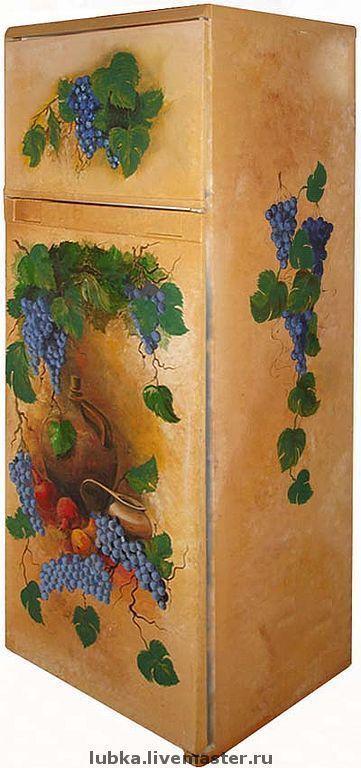 Графины, кувшины ручной работы. Ярмарка Мастеров - ручная работа. Купить роспись холодильника. Handmade. Роспись холодильника, виноград живопись