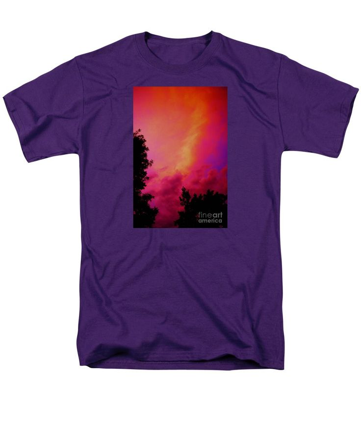 Dynamic Neon Clouds Twilight Manipulation. Compelling Combinations Of Bright Vibrant Colorful Abstract Cloud Forms And Black Silhouetted Trees.fuchsia Men's T-Shirt (Regular Fit) featuring the painting Sky Fire by Expressionistart studio Priscilla Batzell