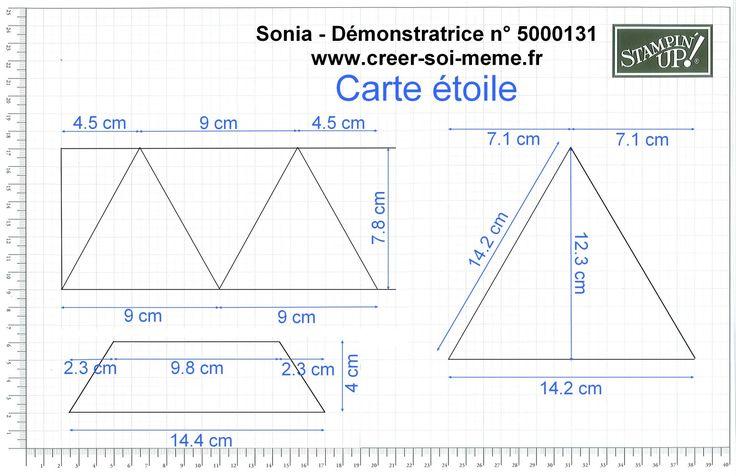 """Comme je vous l'ai promis, voici comment réaliser cette carte étoile qui se déplie en triangle Prenez une feuille cartonnée Stampin'Up de 12''x12"""""""" soit 30.5 cm x 30.5 cm Découpez un rectangle de 26.4 cm x 30.5 cm et marquez les plis en suivant le schèma..."""