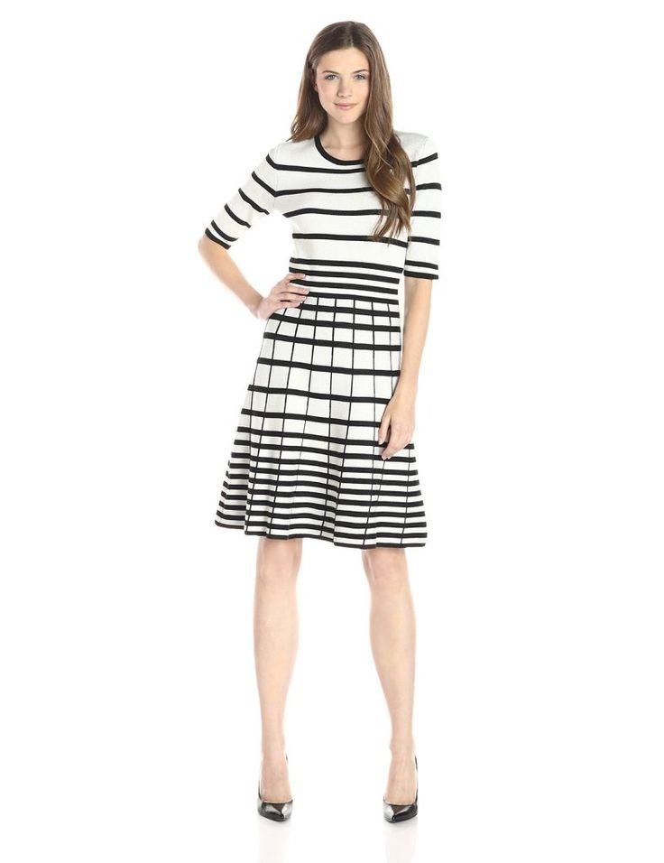 Gabby Skye Women's Elbow Sleeve Stripe Fit and Flare Sweater Dress