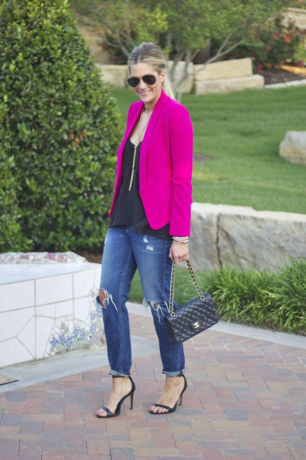 Easy Equation = Boyfriends Jeans, Silk Black Cami & Pink Blazer!  Love it