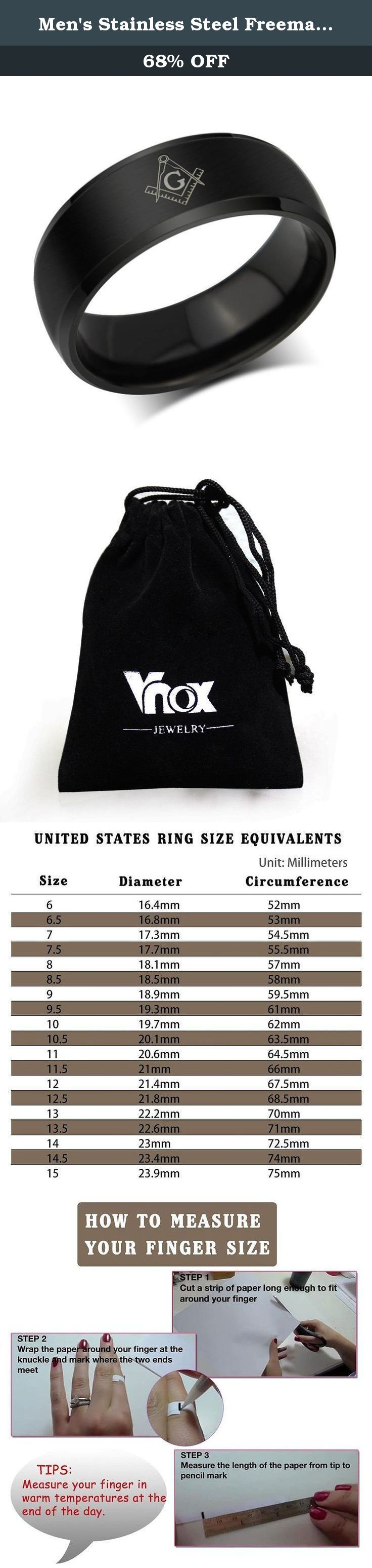 Men's Stainless Steel Freemason Symbol Engagement Promise Wedding Band Ring,Black,8mm,Size 12. The Vnox Discover the Vnox of elaborate and fashion jewelry. The high-quality jewelry featured in the Vnox offers great values at affordable Price, they mainly made of high quality Stainless Steel,Tungsten,Alloy and Leather. Find a special gift for a loved one or a beautiful piece that complements your personal style with jewelry from the Vnox. Stainless Steel Stainless steel has increasingly…