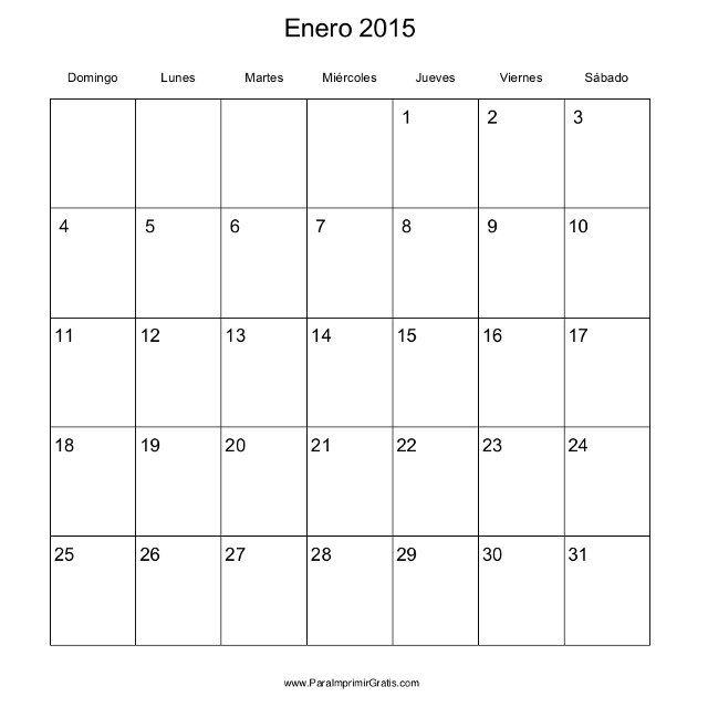 Calendario mensual del 2015 | Monthly calendar 2015