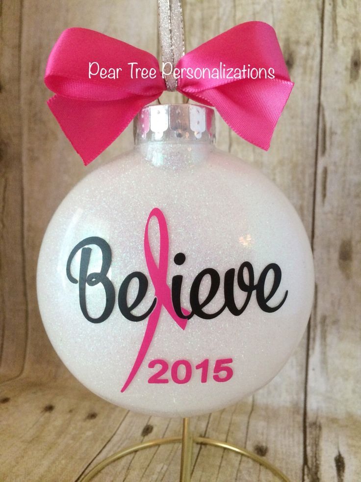 Breast Cancer Ornament, Cancer Awareness, Cancer Ribbon, Cancer Gift, Pink Ribbon, Pink Ornament, Awareness Ribbon, Personalized Ornament by PearTreePersonal on Etsy https://www.etsy.com/listing/248723276/breast-cancer-ornament-cancer-awareness
