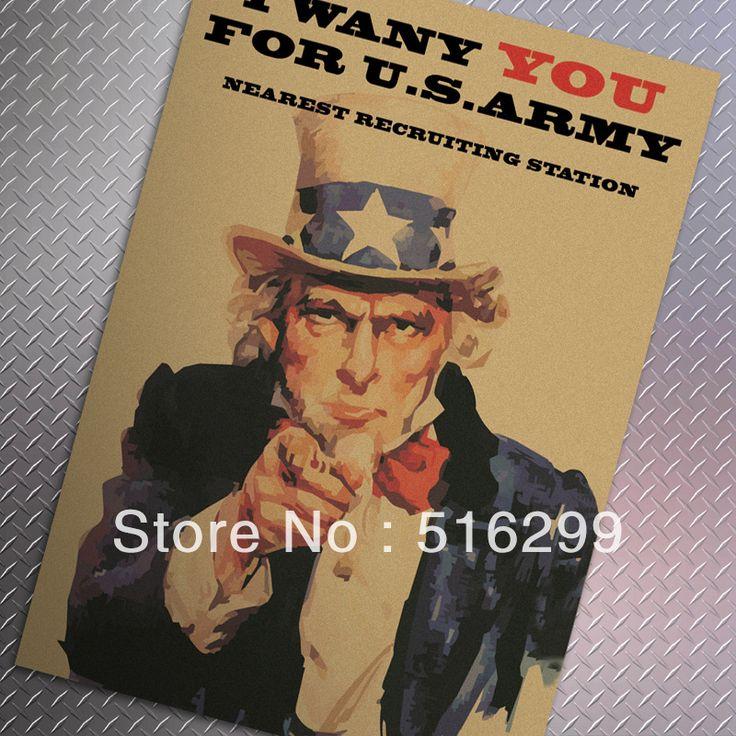 [Mike86] Я хочу, чтобы ты Армия США Дядя Сэм Классический Vintage Paper Плакат Украшение Дома 51X35 СМ MK-46