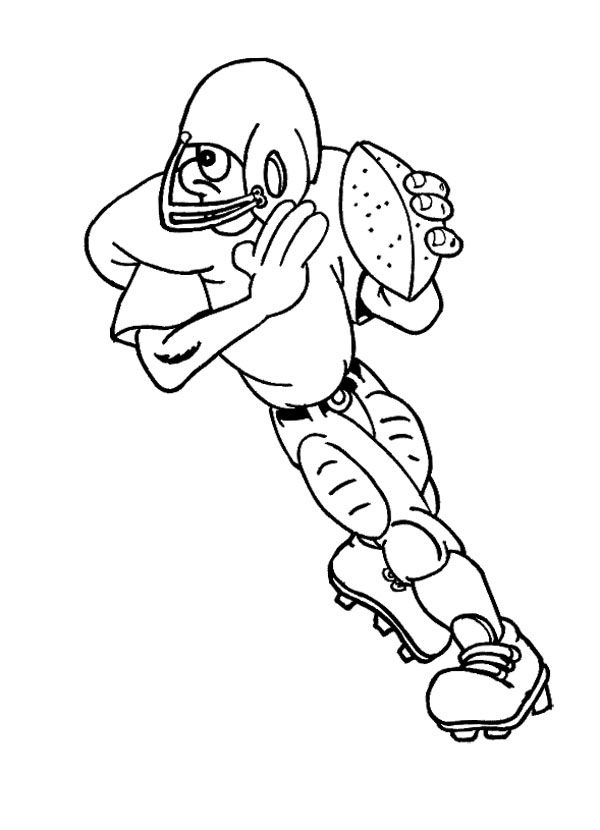 Player Football Running With The Ball Coloring Page For ...