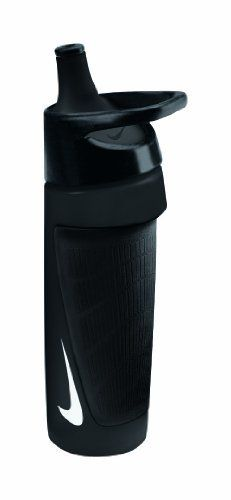 Nike Sport Elite Water Bottle (Black/Black, One Size) by Nike. $14.99. Sport Elite Water Bottle Black/Black · Extended-Reach Nozzle / Gets water through your facemask and into your mouth · Carry Loop / Goes with you from home, to school to sideline · Football-Inspired, Molded Rubber Grip / Takes its texture and pattern cues from Nike Vapor football cleats · 24oz / 700ml capacity     · Orders accepted in increments of 6 units only. Save 17% Off!