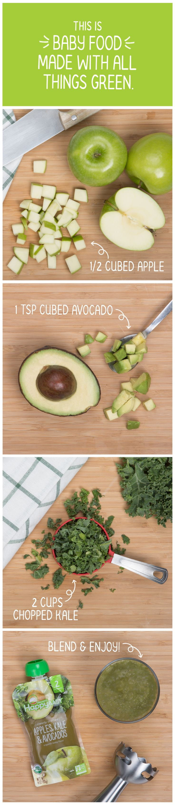 Our organic Apples, Kale & Avocados recipe calls for crisp apples from Italy, creamy avocados from their native Peru, and vitamin rich kale from California's Grimmway Farms. Learn more about where we source every ingredient in our new Happy Baby #ClearlyCrafted pouches: http://happyfamilybrands.com/introducing-clearly-crafted/?utm_source=Pinterest&utm_medium=All%20Targets%20%2B%20Text%20Link&utm_content=Recipes%20AKA&utm_campaign=Clearly%20Crafted%20Pinterest%20
