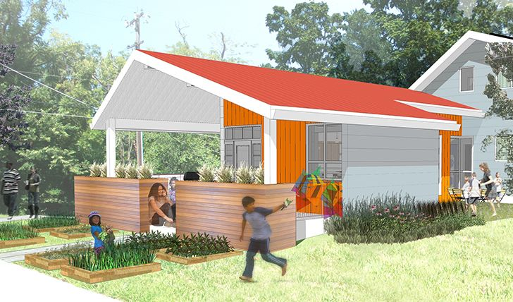 One of six designs for affordable, sustainable housing in Manheim Park, Kansas City, by Brad Pitt's Make it Right Foundation