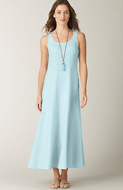 beautiful sky-blue dress with very flattering seams for summer. $129