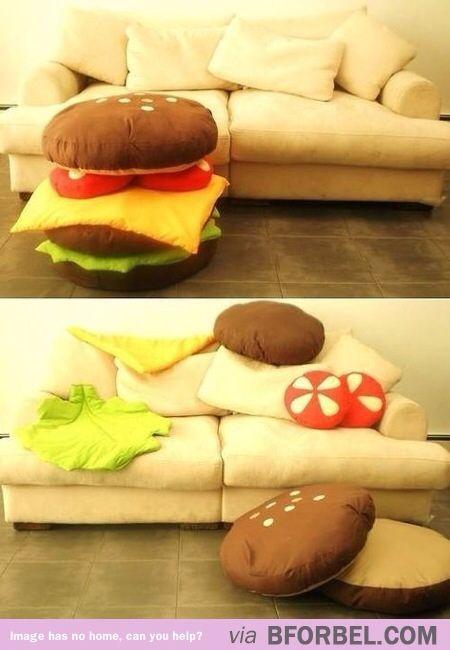 Hamburger pillows...no instructions, but I could totally wing this!