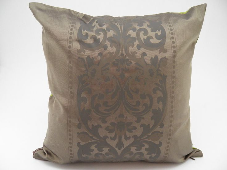 "Angkor Cushion Cover – Bronze / Anise - 45x45cm 100% fine silk spun and handwoven. The Angkor Cushion Cover ""2-in-1″ is a celebration of Khmer art!"