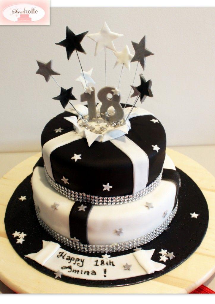 Black and white 18th birthday cake