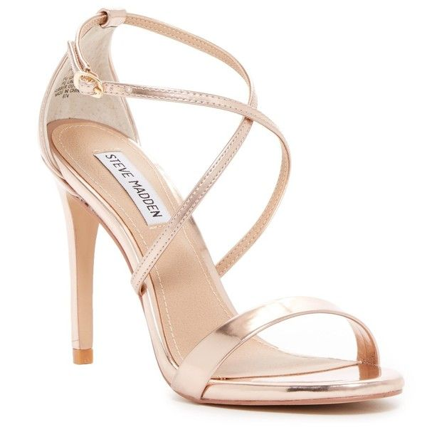 Steve Madden Floriaa Heel Sandal ($50) ❤ liked on Polyvore featuring shoes, sandals, heels, rose gold, strappy heel shoes, open toe heel sandals, criss cross strap sandals, strappy shoes and open toe shoes