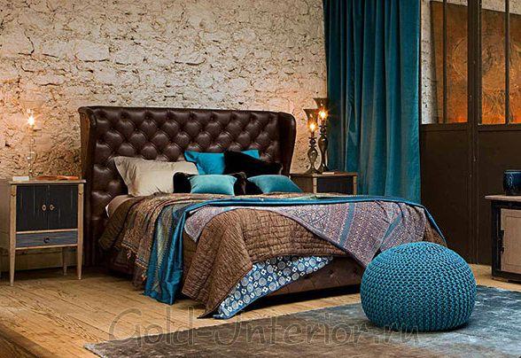 Цвет морской волны + коричневые оттенки в дизайне спальни