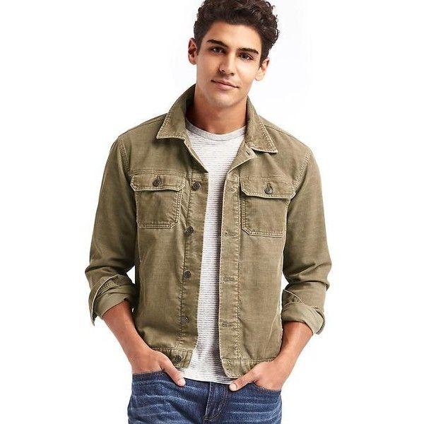 Gap Men Corduroy Jacket ($80) ❤ liked on Polyvore featuring men's fashion, men's clothing, men's outerwear, men's jackets, dark khaki, regular, gap mens clothing, men's apparel, mens clothing and tall mens clothing
