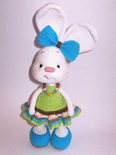 Hübscher Häschen Amigurumi Im Kleid Häckeln Croché Ganchillo