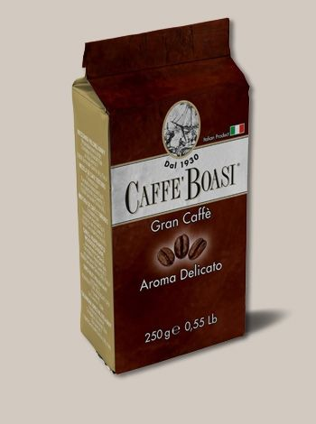 Caffè Boasi Gran Caffè  Aroma Delicato - A powerful blend with low acidity. Special for mocha. PACKAGES: 250 gr