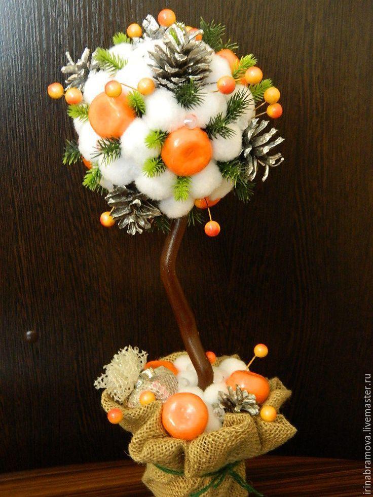 "Купить Топиарий ""Новогодний аромат"" - оранжевый, топиарий, топиарий дерево счастья, Дерево счастья"