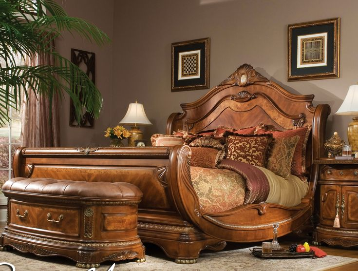 California King Size Bed | AICO Cortina California King Size Sleigh Bed in Honey Walnut Finish