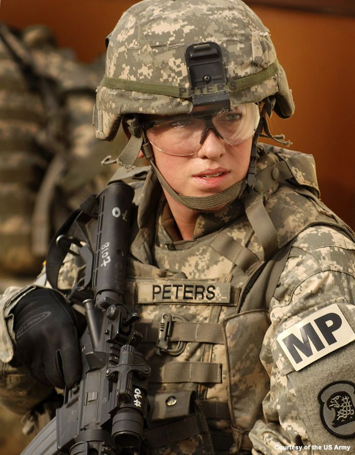 She looks just about as ready to fight as any other soldier. I agree with letting women fight on the front lines if they are willing to provide the service as much as their male counterparts. I would put as much faith in Peters as I would in the next guy.