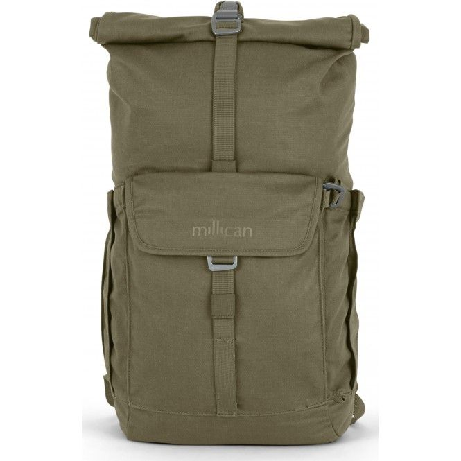 Innovativ ryggsäck tillverkad av en vattentålig canvasväv bestående av återvunnen polyester samt bomull. Rullstängning och justerbara axelremmar med flera smarta fickor.