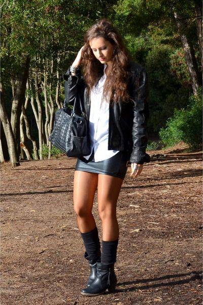 Primark boots - black Stradivarius jacket - Bershka skirt - Primark skirt